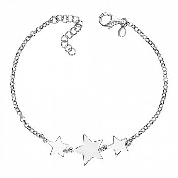 Серебряный браслет со звеньями-звездами 000136585