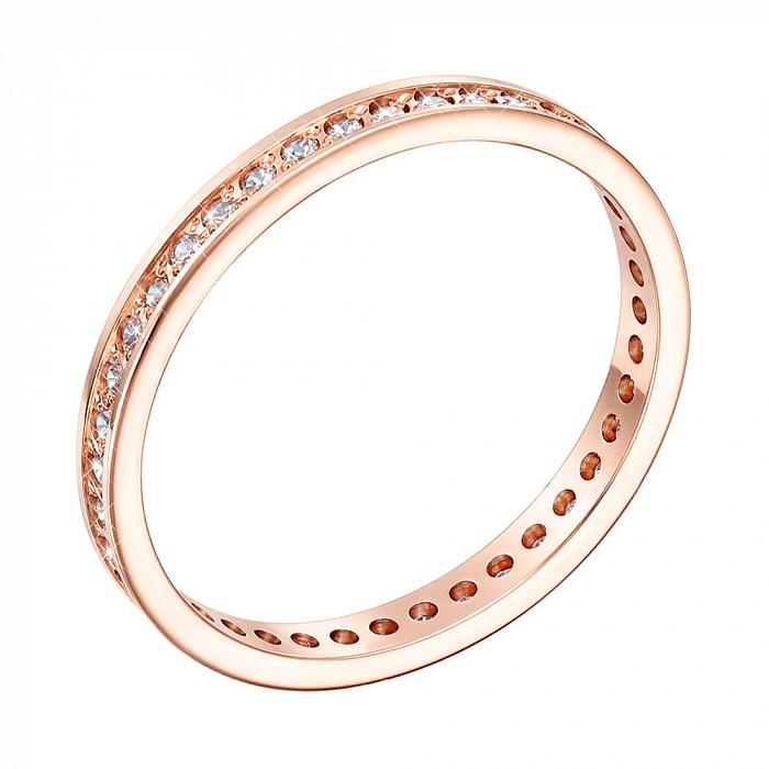 Золотое обручальное кольцо Согласие в красном цвете с фианитами 000005244