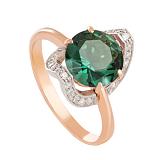 Золотое кольцо Элегия с зеленым аметистом и фианитами