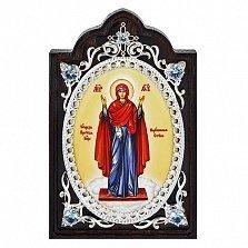 Серебряная икона с образом Богородицы Нерушимая стена