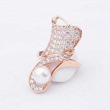 Золотое кольцо на фалангу Дарьяна с жемчугом и фианитами