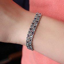 Серебряный браслет Мирена с голубым и синим цирконием