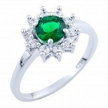 Серебряное кольцо Майя с синтезированным изумрудом и фианитами