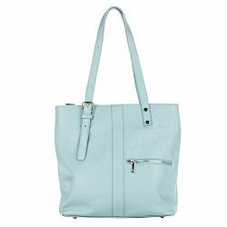 Кожаная сумка на каждый день Genuine Leather 8694 голубого цвета с длинными ручками