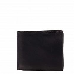 Кожаный кошелек-книжка Genuine Leather gf010 черного цвета с отделениями для карточек и монет