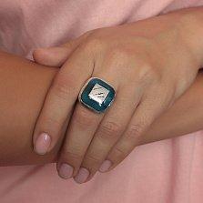 Серебряное кольцо Блеск океана с разомкнутой шинкой и имитацией опала