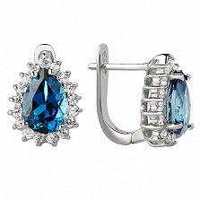Серебряные сережки с Лондон топазами и фианитами Эстурой