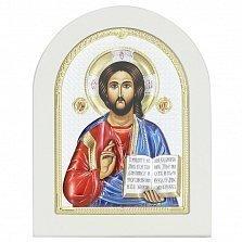 Икона на деревянной основе Христос Спаситель с разноцветной эмалью и позолотой, 13х17