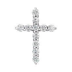 Декоративный крестик из белого золота с бриллиантами 000124961