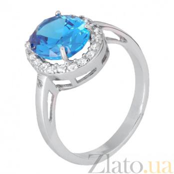 Серебряное кольцо с голубым фианитом Властилина SLX--КК2ФЛТ/410