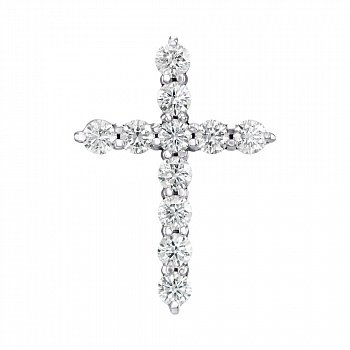 Декоративний хрестик з білого золота з діамантами 000124961