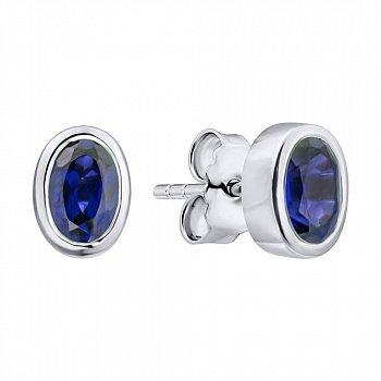 Серебряные серьги-пуссеты с завальцованными сапфирами 000103052