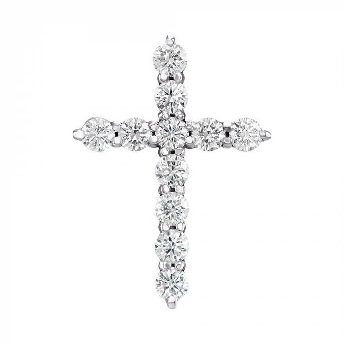 Декоративный крестик из белого золота с бриллиантами 000124961 000124961