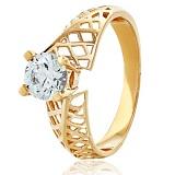 Золотое кольцо с кристаллом Swarovski Верона