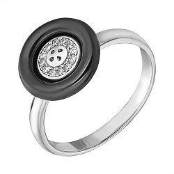 Серебряное кольцо с черной керамикой и фианитами 000113256
