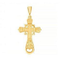 Серебряный крестик Утешение с желтой позолотой 000025233
