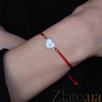 Шелковый браслет Ласточка со вставкой в форме сердца и гравировкой Сердце-ласточка
