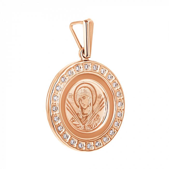 Ладанка из красного золота Божия Матерь Семистрельная с цирконием 000139926 000139926