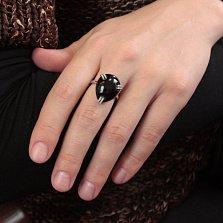Серебряное кольцо Триплет с крупным черным ониксом и фианитами