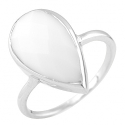 Серебряное кольцо Снежана с белым агатом