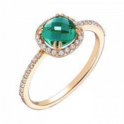 Золотое кольцо Антик с нанотурмалином и фианитами 000031870