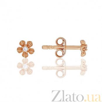 Золотые серьги с цирконием Алиса EDM--С0382-G