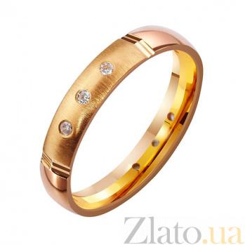 Золотое обручальное кольцо с фианитами Танец любви TRF--4121099