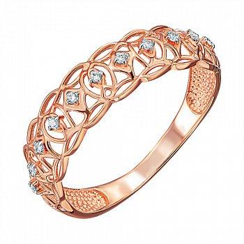 Кольцо из красного золота с фианитами и родированием 000138380
