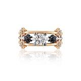 Золотое кольцо Метеор с белыми и черными кристаллами Swarovski
