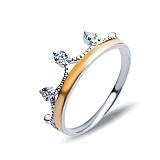 Серебряное кольцо Керри с золотом и фианитами