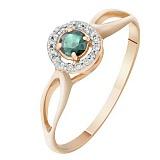 Золотое кольцо Диана с изумрудом и бриллиантами