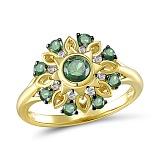 Кольцо Титаник из желтого золота с бриллиантами и изумрудами