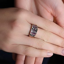Кольцо из красного золота с фианитами Вышиванка
