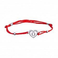 Шелковый браслет Сердце О с серебряной вставкой