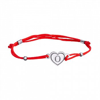 Шелковый браслет Сердце О с серебряной вставкой 000017524