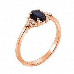 Кольцо в красном золоте Весна с сапфиром и бриллиантами