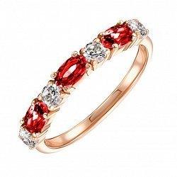 Кольцо из красного золота с гранатами и фианитами 000134061