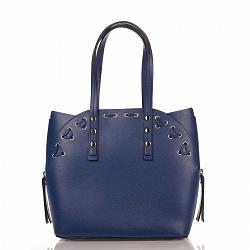 Кожаная сумка на каждый день Genuine Leather 8657 темно-синего цвета с сумкой-вкладышем внутри