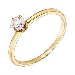Помолвочное кольцо из желтого золота с бриллиантом, 0,25ct 000034692