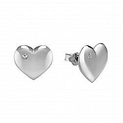 Серебряные серьги-пуссеты Сердце ангела с бриллиантами