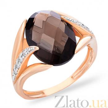 Кольцо из золота с раухтопазом и фианитами Ондре SUF--140635Пкр