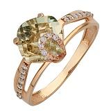Золотое кольцо Эвелин с аметистом и фианитами