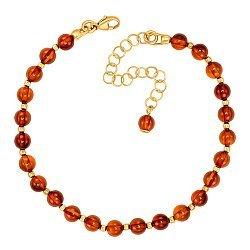 Серебряный позолоченный браслет с янтарем 000137562