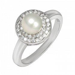 Серебряное кольцо с жемчугом и цирконием 000025496