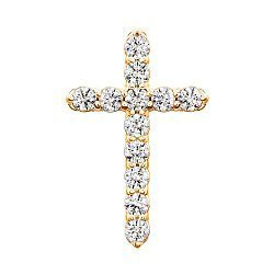 Золотой крестик в желтом цвете с цирконием Swarovski 000053332