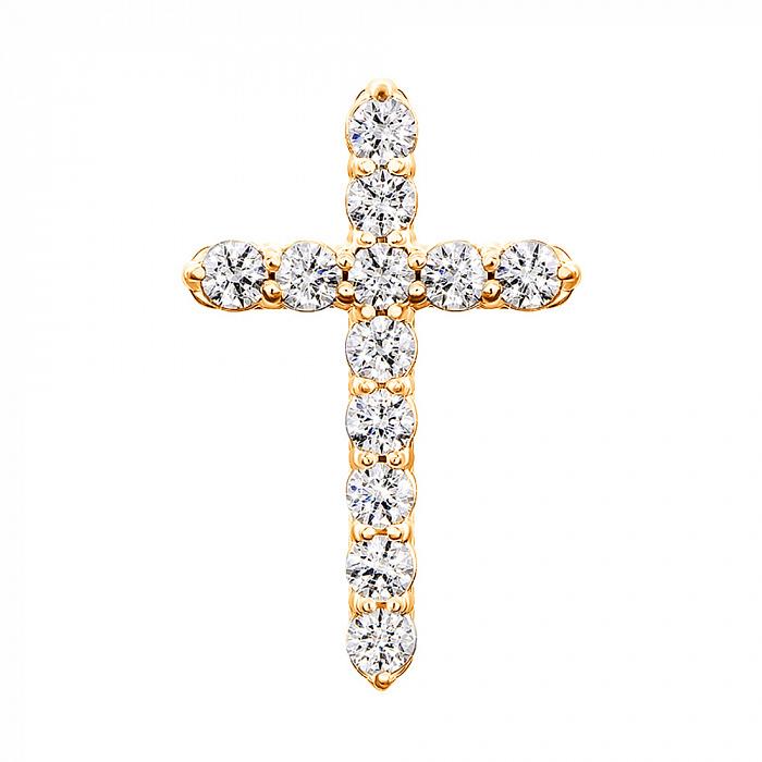 Золотой крестик в желтом цвете с цирконием Swarovski 000053332 000053332