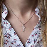 Золотой крестик Альтенда в белом цвете с бриллиантами