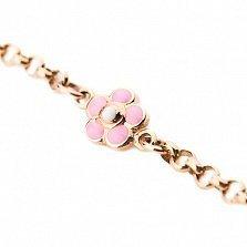 Золотой браслет с цветной эмалью Розовые сны