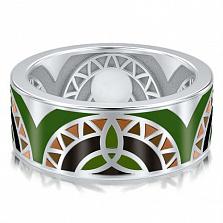 Мужское обручальное кольцо из белого золота Талисман: Жизни