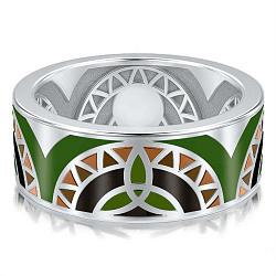 Мужское обручальное кольцо из белого золота Талисман: Жизни 000009263